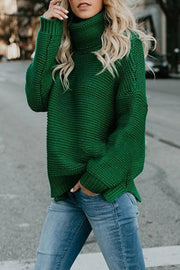 High Neck Pullover Long Sleeve Sweater&Jeans