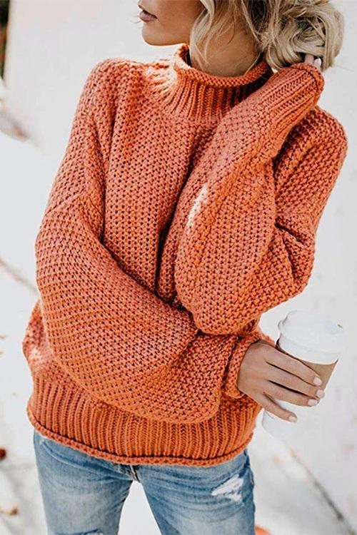 High Neck Pullover Sweater(6 Colors)
