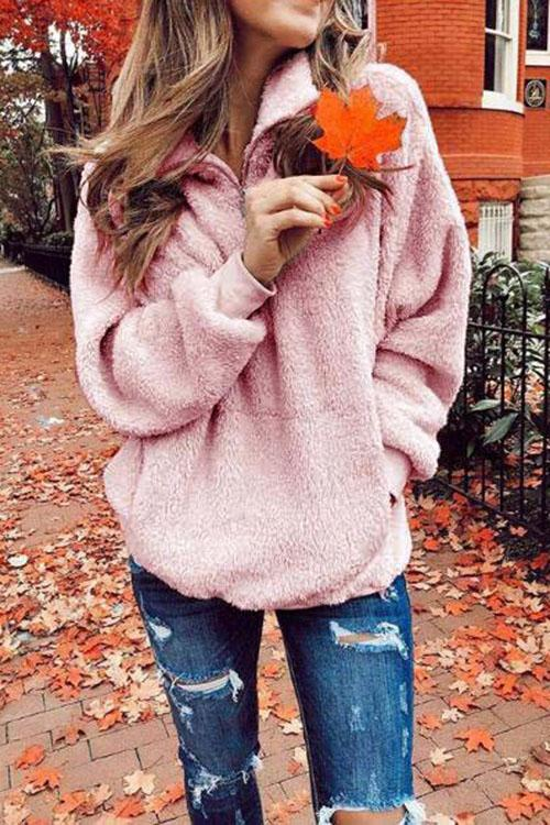 Plush Zip Pocket Sweatshirt