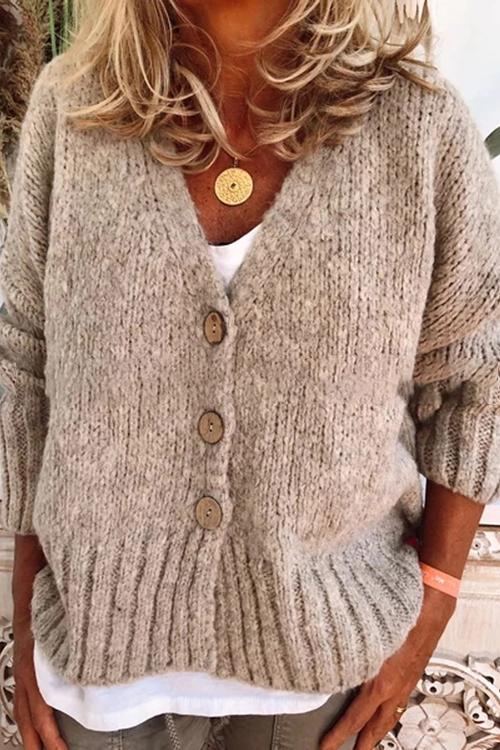 Loose V-neck Button Cardigan