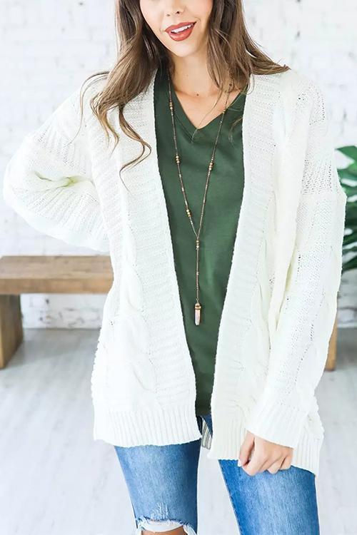 Medium And Long Solid Color Sweater Coat