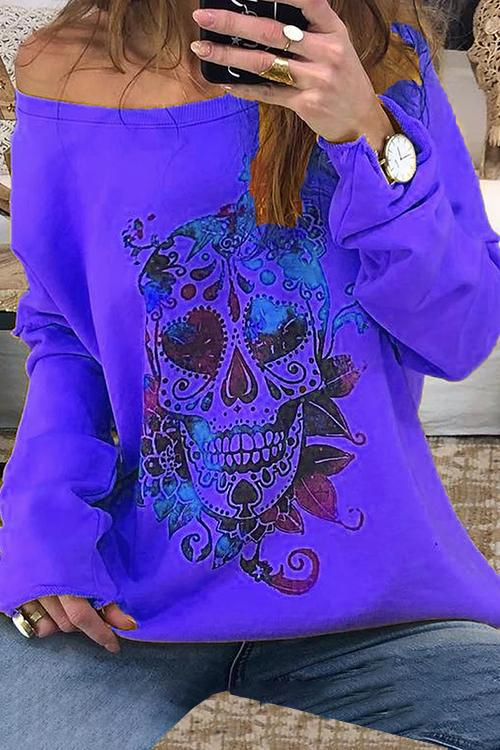 Skull Print O-neck Long Sleeve Sweatshirt
