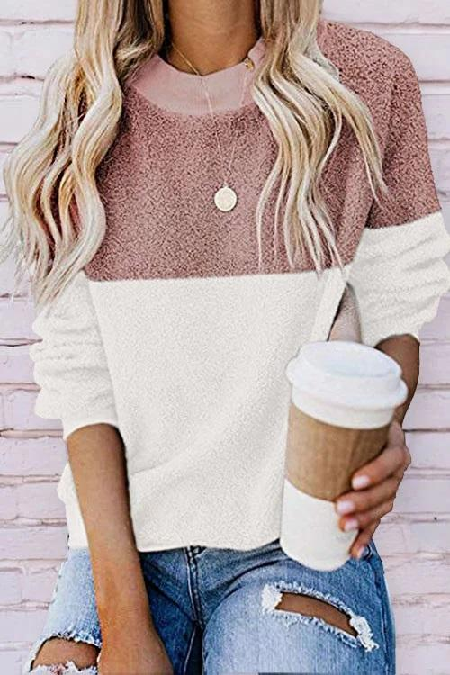 Casual Contrast Color Stitching Plush Sweatshirt