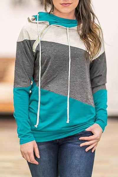 Stitching Color Zipper Pocket Hoodie