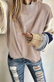 High Collar Contrast Sleeve Sweater