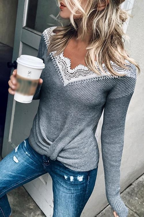 Lace V Neck Long Sleeve Sweater