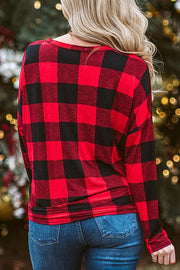 Christmas Plaid Splicing Button Blouse