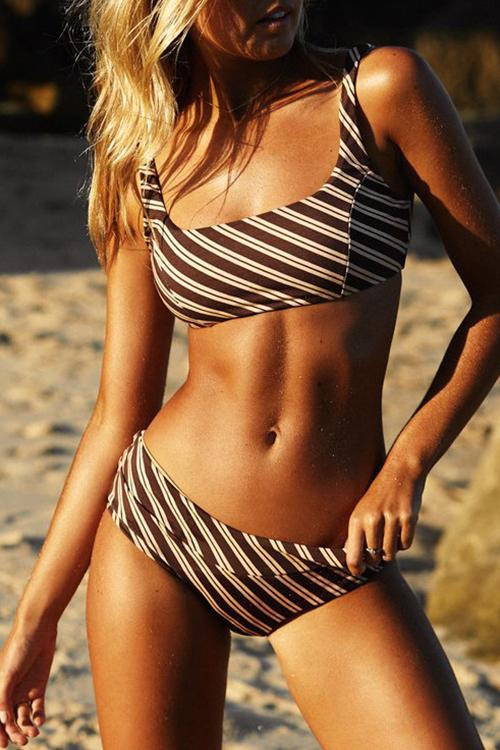 Striped Print High Waist Bikini