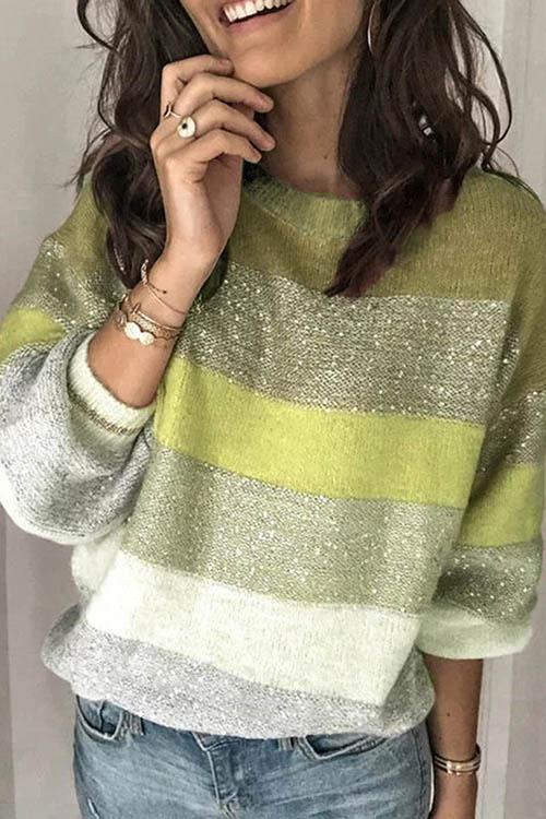 Striped Gradient Sequin Sweater