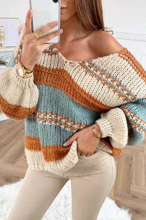 V Neck Striped Contrast Sweater