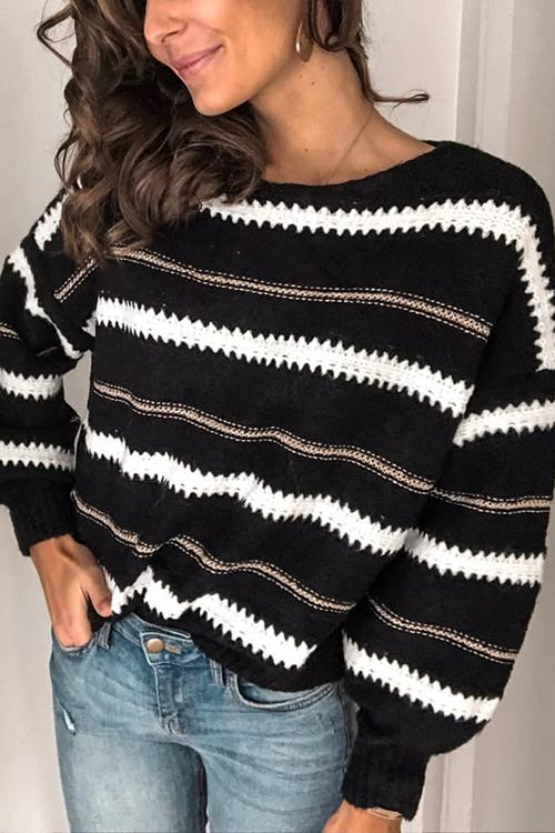 Orange Striped Stitching Sweater(4 Color)
