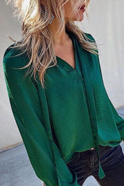 V Neck Loose Bandage Blouse