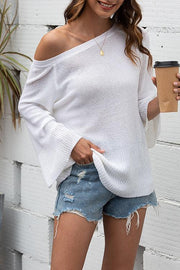 Openwork Bow Tie Lace-Up Sweater