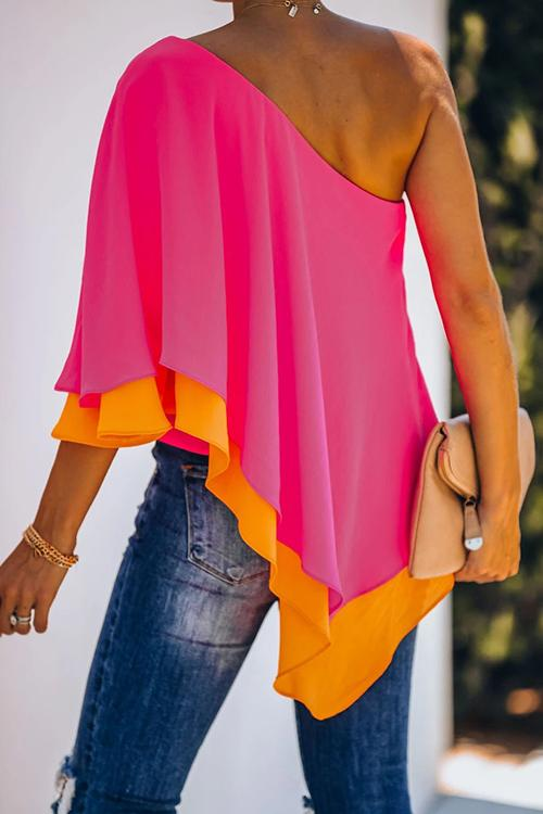 Diagonal Double-Layer Ruffled Contrast Color Shirt