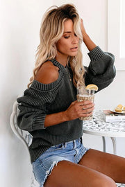Cold Shoulder Cross Backless Sweater