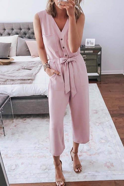V-Neck Sleeveless Strap Jumpsuit