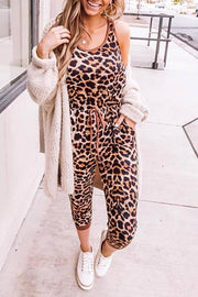 Leopard Sleeveless Pocket Jumpsuit