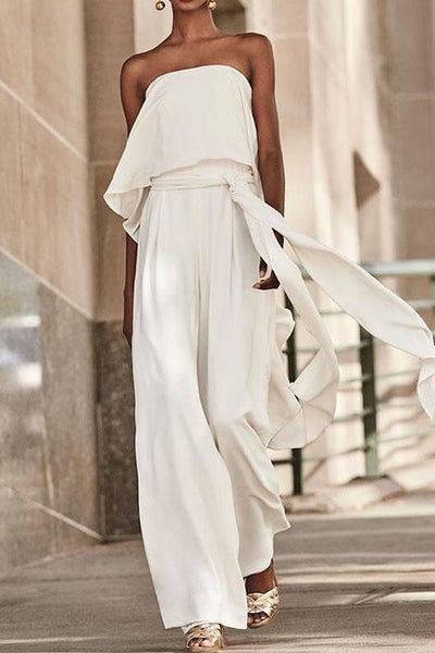 Casual Ruffled Belt Strapless Jumpsuit