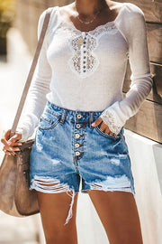 High Waist Button Denim Shorts