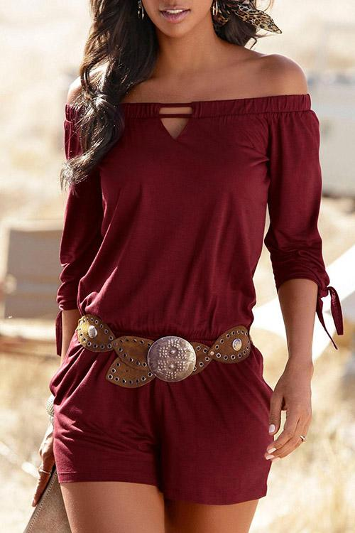 Solid Color Off Shoulder Half Sleeve Romper