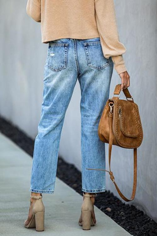 Straight Ripped Mid-Rise Cropped Jeans