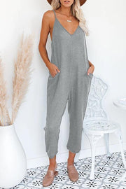 Waffle V-Neck Pocket Sleeveless Jumpsuit