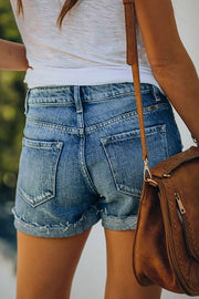 High Waist Single Breasted Denim Shorts