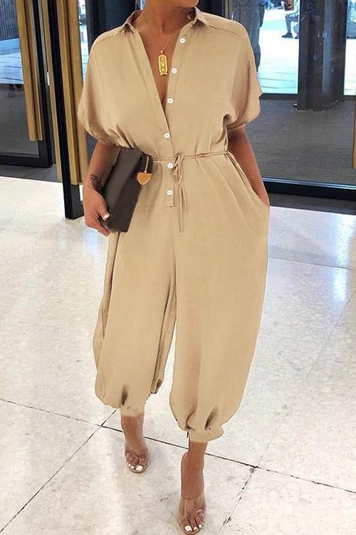 Short Sleeve Button Jumpsuit
