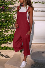 Solid Color Linen Pocket Jumpsuit