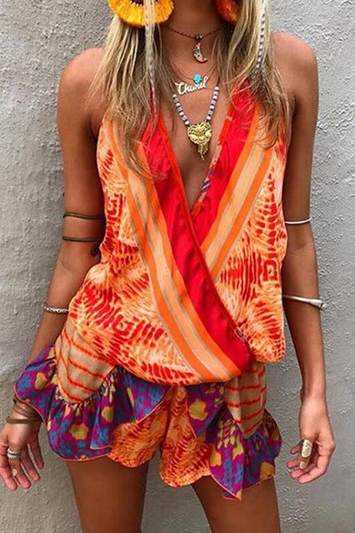 Deep V Lace-Up Printed Romper