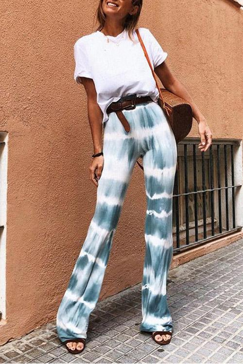 Tie-Dye Flared Flared Pants