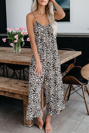 V-Neck Leopard Sleeveless Jumpsuit