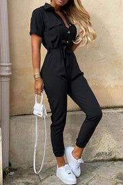 Casual Button Tie Jumpsuit