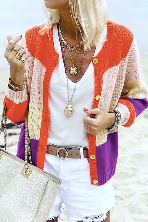 Contrast Stitching Knit Cardigan