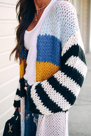 Contrast Striped Long Knit  Cardigan