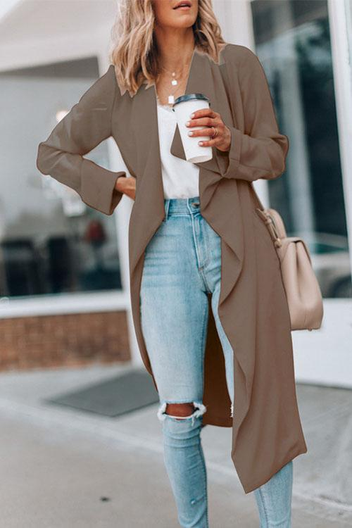 Solid Color Lapel Long Trench Coat