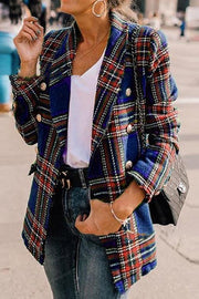 Plaid Wool Lapels Coat