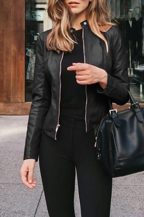Solid Color Zip Leather Jacket