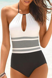 Halter Cutout Back Striped One Piece