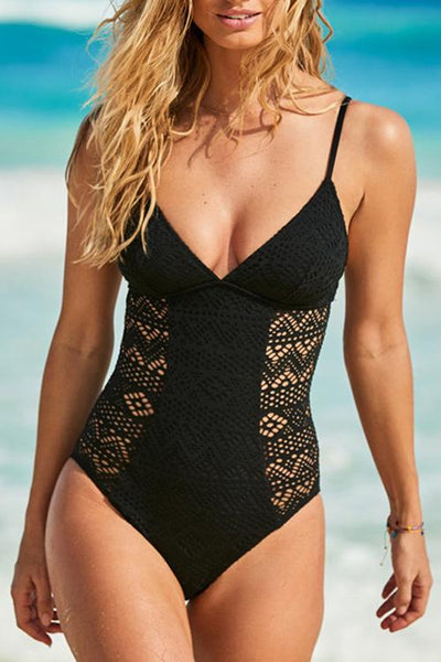 V Neck Lace  Hollow One Piece