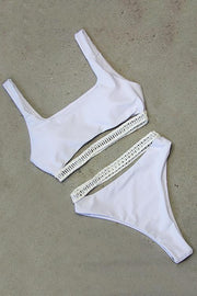 Hollow Stripe Bikini Set
