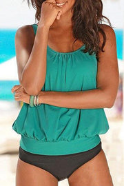 Solid Color Strap Tankini