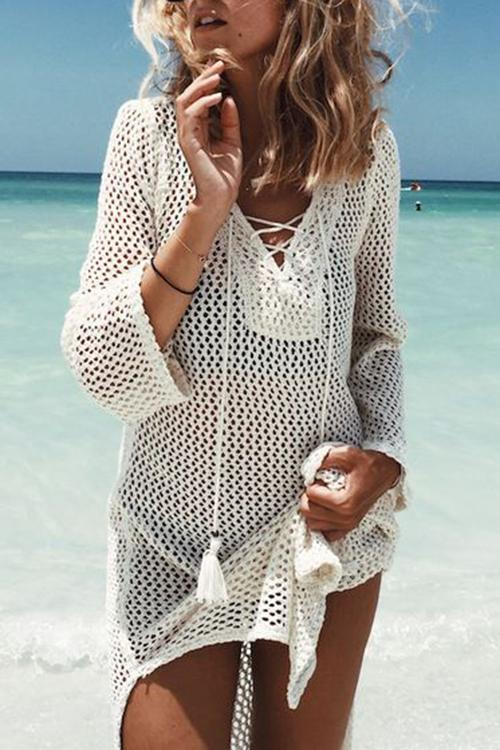 V Neck Hollow Bandage Tassel Cover UP