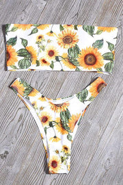 Strapless Print Floral Bandeaukini