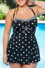 Plus Size Dot Print Tankini