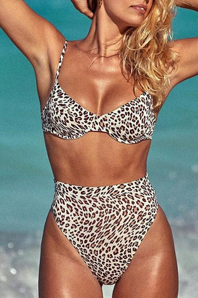 Leopard High Waist String Bikini