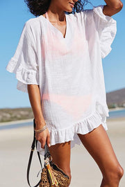 V Neck Solid Color Cover Up