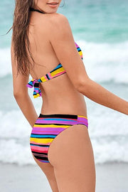 Irregular Striped Halter Bikini