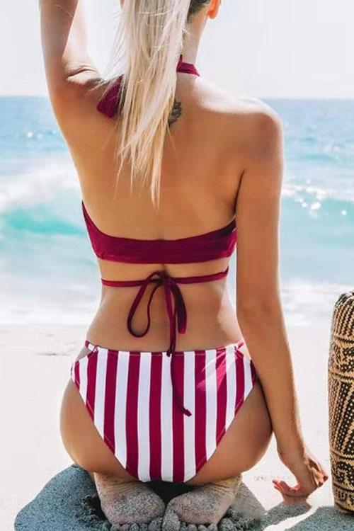 Cross Halter Striped Bikini