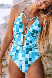 Plaid Printed Halter Strap One Piece